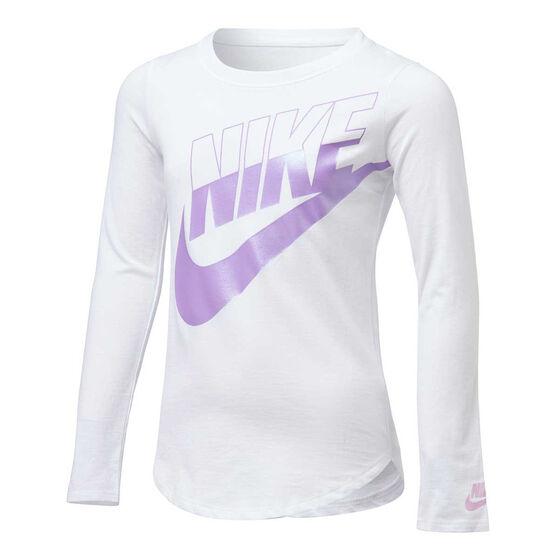 Nike Girls Futura Split Long Sleeve Tee, White/Purple, rebel_hi-res