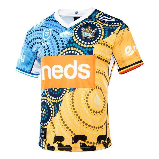 Gold Coast Titans 2021 Mens Indigenous Jersey Multi L, Multi, rebel_hi-res