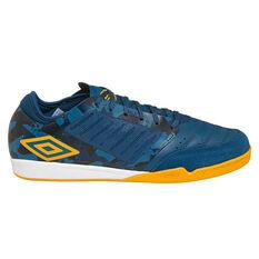 Umbro Chaleira Pro Mens Indoor Soccer Shoes Navy / Gold US 7, Navy / Gold, rebel_hi-res