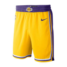 Nike Los Angeles Lakers Icon Edition Swingman Mens Basketball Shorts Yellow / Purple S, Yellow / Purple, rebel_hi-res