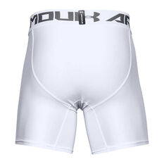 Under Armour Mens HeatGear Armour 2.0 Compression Shorts White S, White, rebel_hi-res