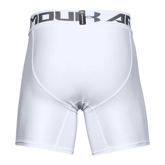 Under Armour Mens HeatGear Armour 2.0 Compression Shorts, White, rebel_hi-res