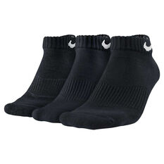 Nike Mens Cushion Low Cut 3 Pack Socks, Black, rebel_hi-res