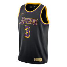 Nike Los Angeles Lakers Anthony Davis 2020/21 Mens Earned Jersey Black S, Black, rebel_hi-res