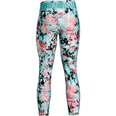 Under Armour Girls HeatGear Printed Tights Turquoise XS, Turquoise, rebel_hi-res