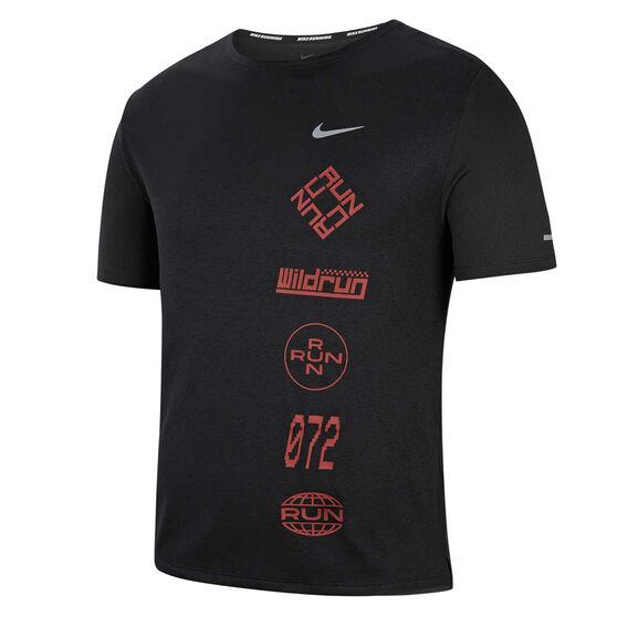 Nike Mens Dri-FIT Miler Wild Run Running Tee, Black, rebel_hi-res