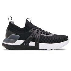 Under Armour Project Rock 4 Mens Training Shoes Black/White US 7, Black/White, rebel_hi-res
