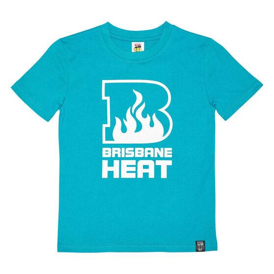 Brisbane Heat 2020/21 Kids Mono logo Tee, Teal, rebel_hi-res