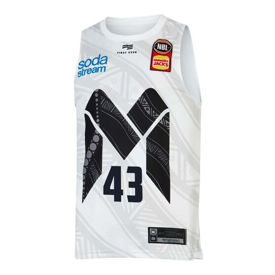 Melbourne United 19/20 Mens Indigenous Jersey White L, White, rebel_hi-res