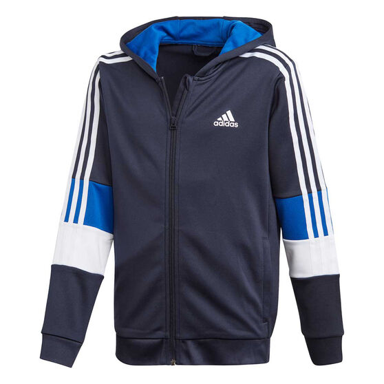 adidas Boys Aeroready 3-Stripes Full-Zip Hoodie, Navy/Blue, rebel_hi-res
