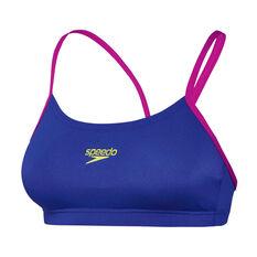 Speedo Womens Endurance Crop Swim Top Blue / Pink 8, , rebel_hi-res