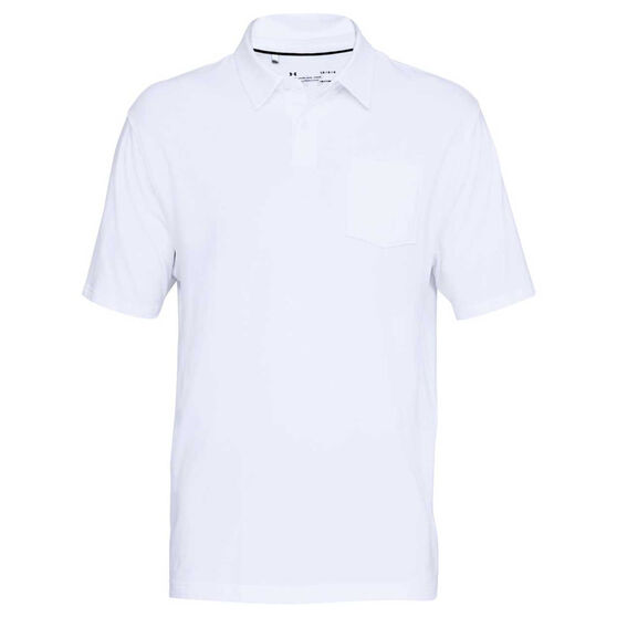 Under Armour Mens Charged Cotton Scramble Polo Shirt, White / Grey, rebel_hi-res