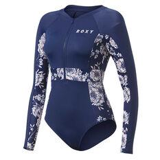 Roxy Womens Fitness Long Sleeve Onesie Blue XS, Blue, rebel_hi-res