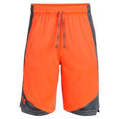 Under Armour Boys Stunt 2.0 Shorts Orange / White XS, Orange / White, rebel_hi-res