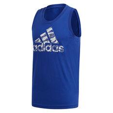 adidas Mens Badge of Sport Camo Tank Blue S, Blue, rebel_hi-res