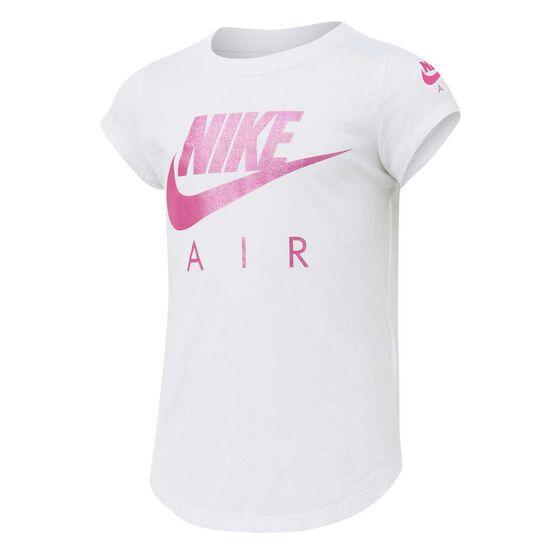 Nike Girls Futura Air Tee White / Pink 6, White / Pink, rebel_hi-res