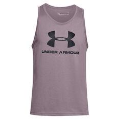 Under Armour Mens Sportstyle Logo Tank, Purple, rebel_hi-res