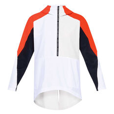 Under Armour Womens Unstoppable Woven Anorak Jacket White XS, White, rebel_hi-res