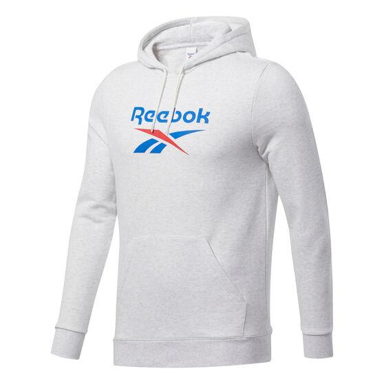 Reebok Mens Vector Hoodie, White, rebel_hi-res