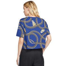 Nike Womens Sportswear Glam Dunk Cropped Tee, Blue, rebel_hi-res