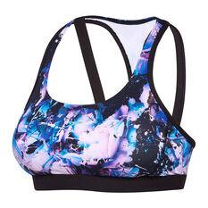 Speedo Womens ECO Virtual Bloom Swim Crop Top Purple 8, Purple, rebel_hi-res
