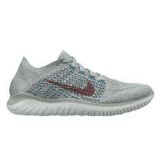 Free RN Flyknit 2018 Womens Running Shoes Green / Silver US 6, Green / Silver, rebel_hi-res