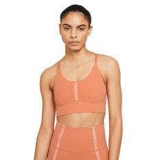 Nike Yoga Womens Indy Dri-FIT Sports Bra Orange XS, Orange, rebel_hi-res
