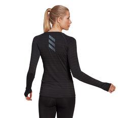 adidas Womens Runner Long Sleeve Tee Black L, Black, rebel_hi-res