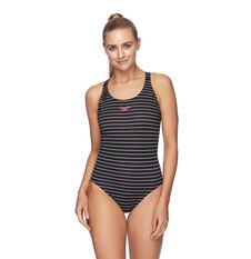 Speedo Womens Limitless Leaderback Swimsuit Black/White 8 8, Black/White, rebel_hi-res