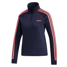 adidas Womens Essentials 3 Stripes Fleece 1/4 Zip Jacket Navy XS, Navy, rebel_hi-res