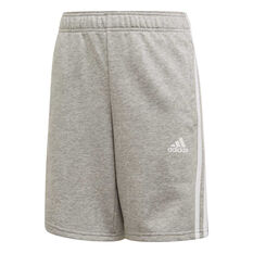 adidas Boys Must Haves 3-Stripes Shorts Grey / White 6, Grey / White, rebel_hi-res