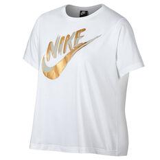 Nike Womens Sportswear Metallic GX Tee White XS, White, rebel_hi-res