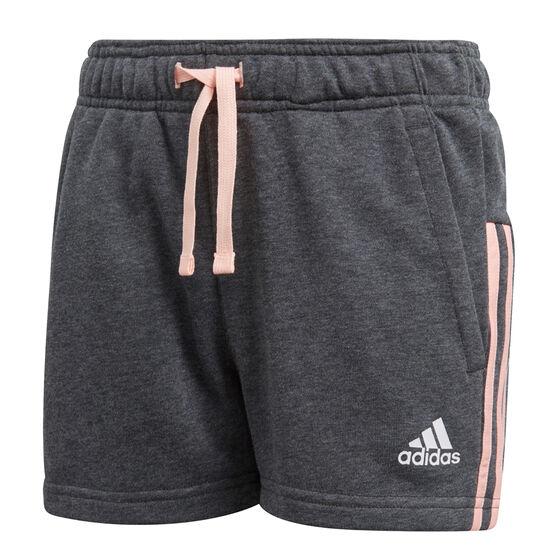 adidas Girls Essentials 3 Stripes Mid Shorts, Grey, rebel_hi-res