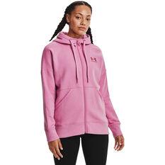 Under Armour Womens Rival Fleece Full Zip Hoodie, Pink, rebel_hi-res