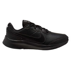 Nike Varsity Leather Kids Running Shoes Black US 4, Black, rebel_hi-res