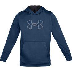 Under Armour Mens Performance Graphic Fleece Hoodie Blue XS, Blue, rebel_hi-res