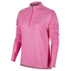 Nike Womens Pacer 1 / 2 Zip Long Sleeve Top Fuschia XS, Fuschia, rebel_hi-res