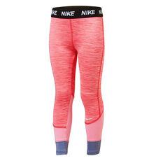 Nike Girls Dri-Fit Split Leggings Pink 4, Pink, rebel_hi-res