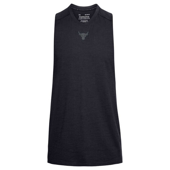 Under Armour Mens Project Rock Charged Cotton Tank, Black, rebel_hi-res
