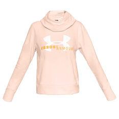 Under Armour Womens UA Rival Fleece Logo Hoodie Orange XS, Orange, rebel_hi-res