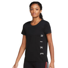 Nike Womens Miler Running Tee Black XS, Black, rebel_hi-res