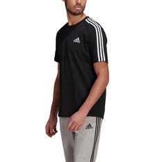 adidas Mens Essentials 3-Stripes Tee Black S, Black, rebel_hi-res