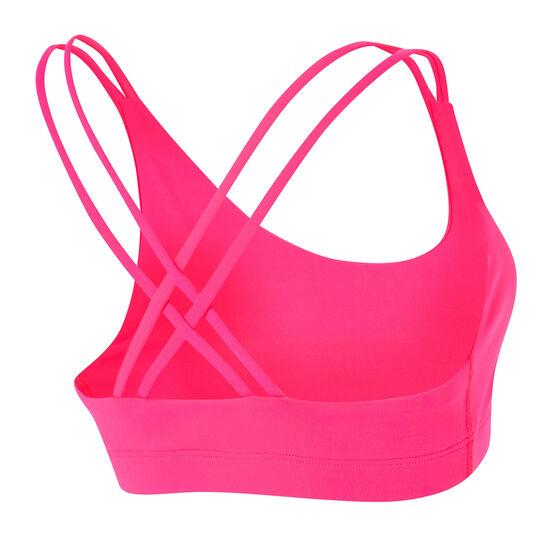 Running Bare Womens Midi Lotus Sports Bra, Pink, rebel_hi-res