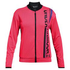 Under Armour Girls Varsity Bomber Jacket Pink / Black XS, , rebel_hi-res