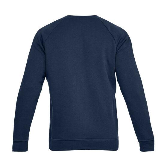 Under Armour Mens Rival Fleece Crew Sweater, Navy, rebel_hi-res