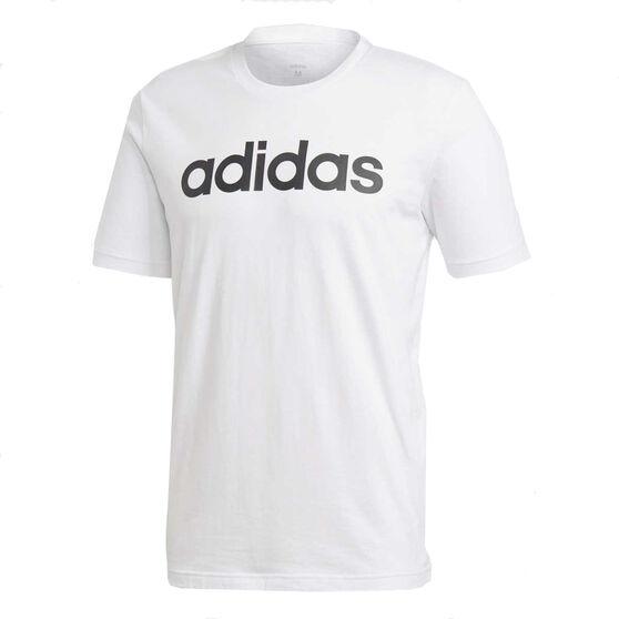 adidas Mens Essentials Linear Tee White / Black XXL, White / Black, rebel_hi-res