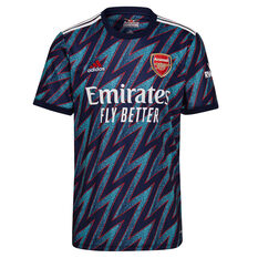 Arsenal 2021/22 Mens Replica 3rd Jersey Blue S, Blue, rebel_hi-res