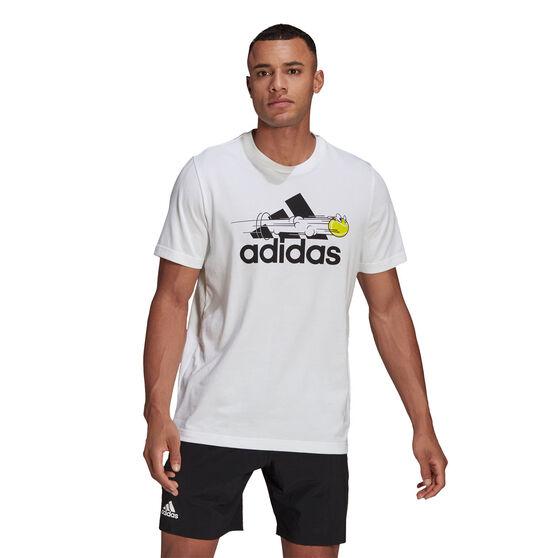 adidas Mens Tennis Graphic Logo Tee, White, rebel_hi-res