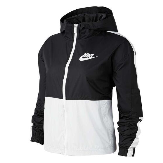 Nike Womens Sportswear Woven Jacket, Black / White, rebel_hi-res
