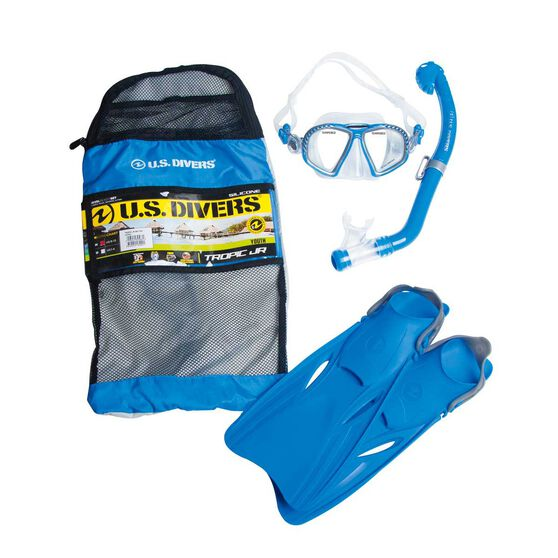 US Divers Tropic Junior Snorkel and Fin Set Blue S / M, Blue, rebel_hi-res